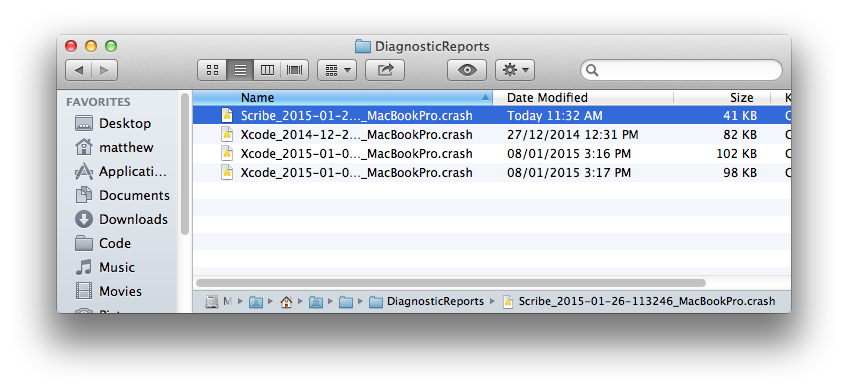 Scribe - Crash Report